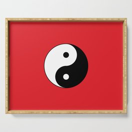 Yin and yang Symbol on red Serving Tray