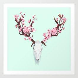 CHERRY BLOSSOM SKULL Art Print