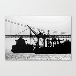 Metallic Architectures Docked Cargo Ships Canvas Print