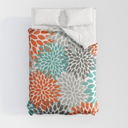 Floral Pattern, Abstract, Orange, Teal and Gray Comforters