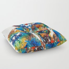 Colorful Buffalo Art - Sacred - By Sharon Cummings Floor Pillow