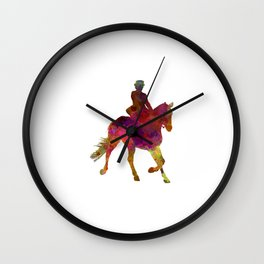 Horse show 03 in watercolor Wall Clock