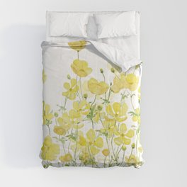 yellow buttercup flowers filed watercolor  Comforters