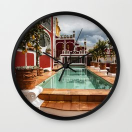 Pool at Le Sirenuse Hotel, Positano, Italy Wall Clock