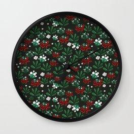 Ditsy Mistletoe pattern Wall Clock