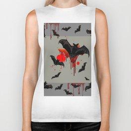 GREY ART OF FLYING BLACK BATS BLOODY  HALLOWEEN PARTY Biker Tank