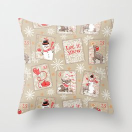 Snowman and Woodland Friends Postage  Throw Pillow