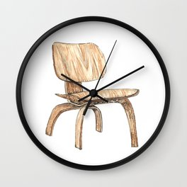 Eames Plywood Lounge Chair Watercolor and Pen and Ink Wall Clock