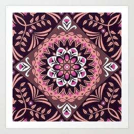 Elegant Burgundy Pink Floral Mandala Art Print