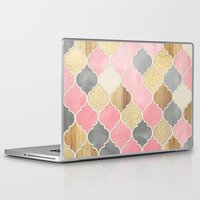 bedding Laptop & iPad Skins featuring Silver Grey, Soft Pink, Wood & Gold Moroccan Pattern by micklyn