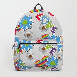 Hippie Heart Rainbow Print in Gray Backpack