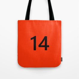 Legendary No. 14 in orange and black Tote Bag