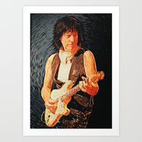 cassia beck Art Prints featuring Jeff Beck by Taylan Soyturk