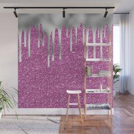 Pink Glitter Silver Drip Pattern Wall Mural