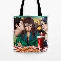 daria Tote Bags featuring Daria with Pizza and Friends by Artik