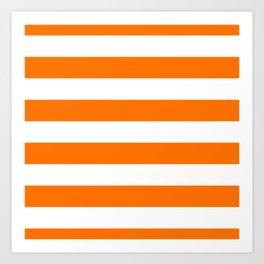 Bright Tumeric Orange and White Wide Horizontal Cabana Tent Stripe Art Print