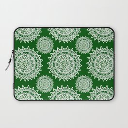 Emerald Green and Silver Patterned Mandalas Laptop Sleeve