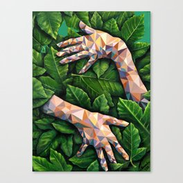 Hands Through Leaves - Brandie Lee - Geometric Shapes - Digital Garden of Eden Canvas Print