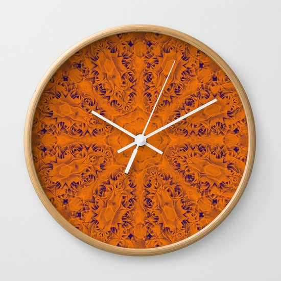 Orange and blue mandala Wall Clock by Wendy Townrow