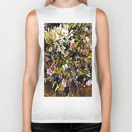 Yellow and Pink Bouquet of Flowes Biker Tank