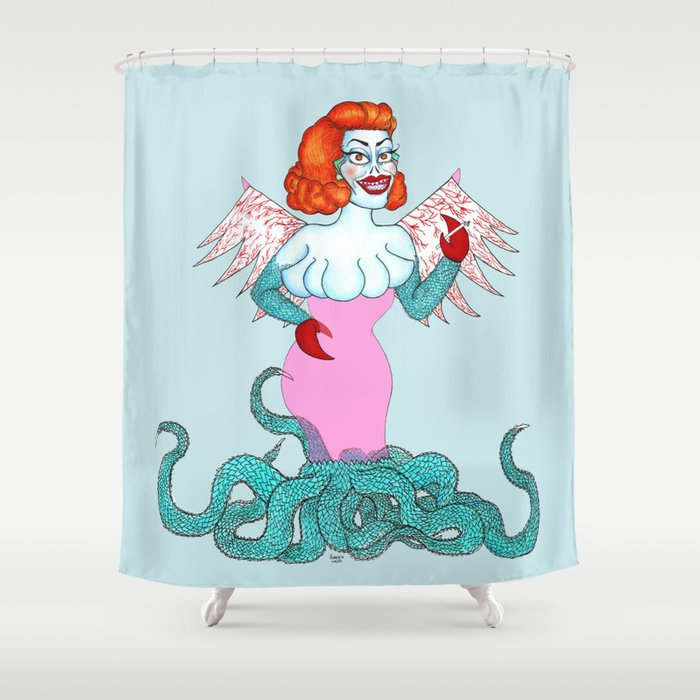 Tacky Glamorous Alien Smoking A Cig Shower Curtain By Bettiewho