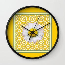 Golden Modern Art Deco Shasta Daisy Pattern Art Wall Clock
