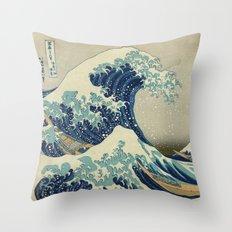 Great Wave Off Kanagawa (Kanagawa oki nami-ura or 神奈川沖浪裏) Throw Pillow