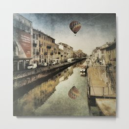 Air balloon over the canal Metal Print