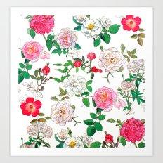 Pattern of vintage rose Art Print