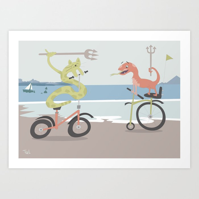 Cat Snakes on Bicycles Holding Tridents Art Print