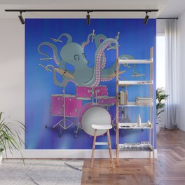 Octopus Playing Drums - Blue Wall Mural