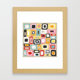 Watercolor Mid Century Squares and Rectangles Framed Art Print