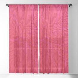 spiral warped red Sheer Curtain