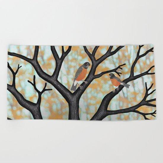 American robins at sunrise Beach Towel