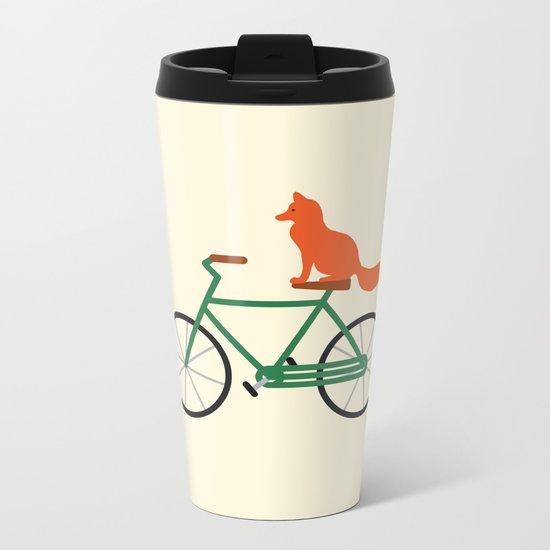 Fox Riding Bike Metal Travel Mug