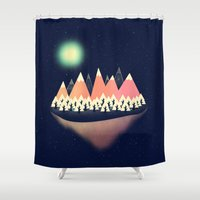 decal Shower Curtains featuring The Other Side by Zach Terrell