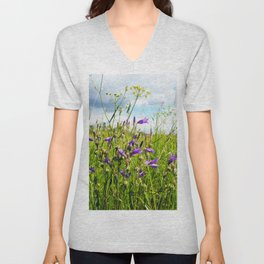 bellflowers in the grass Unisex V-Neck