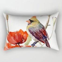 Cardinal Bird And Poppy Flowers Rectangular Pillow