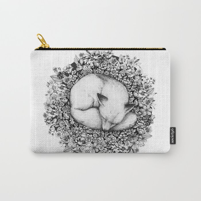 Fox Sleeping in Flowers Carry-All Pouch