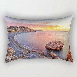 Sunrise at the famous beach Mavra Volia in Chios island, Greece Rectangular Pillow