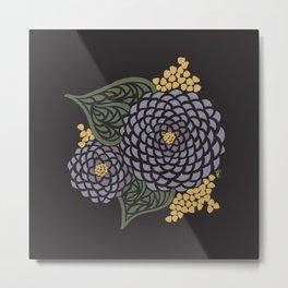 Dark Geometric Flower Metal Print