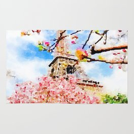 Early Spring by The Eiffel Tower Watercolor  Rug