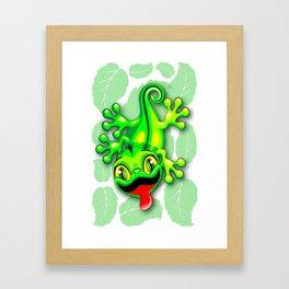 Gecko Lizard Baby Cartoon Framed Art Print