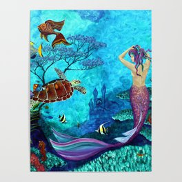 A Fish of a Different Color - Mermaid and seaturtle Poster