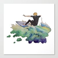 surfer Canvas Prints featuring Surfer by Kyra Kalageorgi