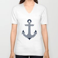 anchor V-neck T-shirts featuring Anchor by Paula Belle Flores