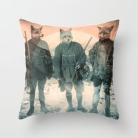 faces Throw Pillows featuring Fox Hunt by Chase Kunz