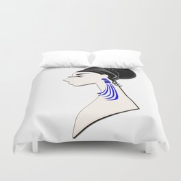 Art - a beautiful brunette with glasses and blue earrings Duvet Cover