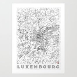 Luxembourg Map Line Art Print
