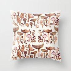 Watercolor Mushrooms Throw Pillow